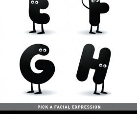 Funny Cartoon alphabet design vector material 03