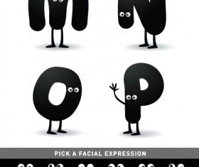 Funny Cartoon alphabet design vector material 04