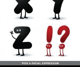Funny Cartoon alphabet design vector material 07