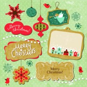 Link toCartoon cute christmas labels vintage style vector 01