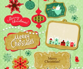 Cartoon cute Christmas labels vintage style vector 01