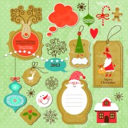 Link toCartoon cute christmas labels vintage style vector 02