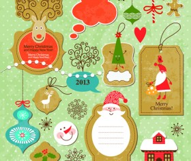 Cartoon cute Christmas labels vintage style vector 02