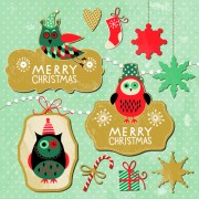 Link toCartoon cute christmas labels vintage style vector 04