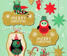 Cartoon cute Christmas labels vintage style vector 04