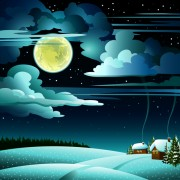 Link toCharming winter night landscapes design vector 01