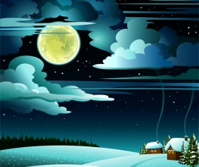 Charming Winter Night landscapes design vector 01