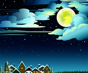 Charming Winter Night landscapes design vector 02