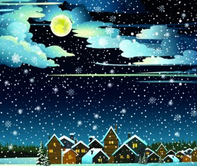 Charming Winter Night landscapes design vector 03