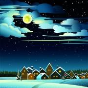 Link toCharming winter night landscapes design vector 04
