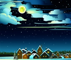 Charming Winter Night landscapes design vector 04