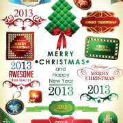 Link toSet of christmas accessories vector illustration 04
