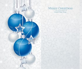 Set of Christmas balls decor Backgrounds vector 05