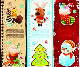 Elements of Cute Christmas Banners design vector 02