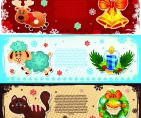 Elements of Cute Christmas Banners design vector 03