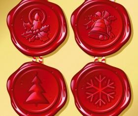 Set of Christmas Wax Seal elements vector graphics 01