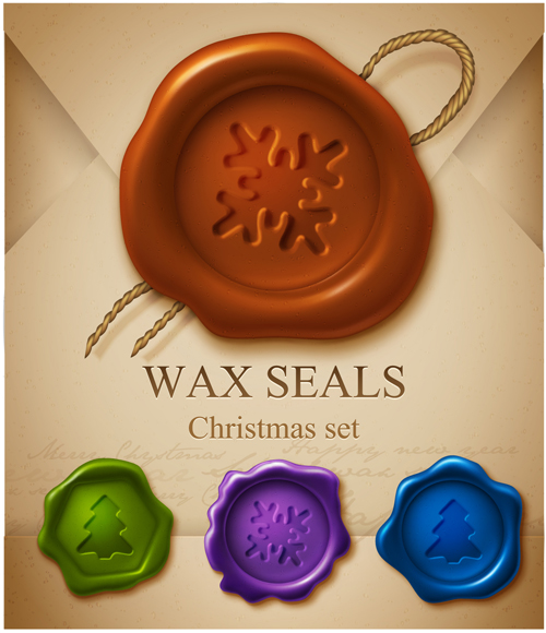 Set of Christmas Wax Seal elements vector graphics 04