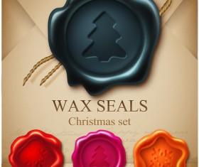 Set of Christmas Wax Seal elements vector graphics 05