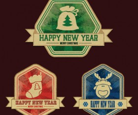 Christmas discount badges with labels vector 01