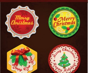 Christmas discount badges with labels vector 02