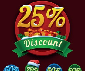 Christmas discount badges with labels vector 03