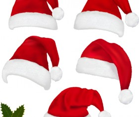 Different Christmas hat design elements vector set 01