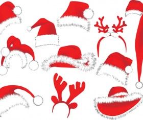 Different Christmas hat design elements vector set 06