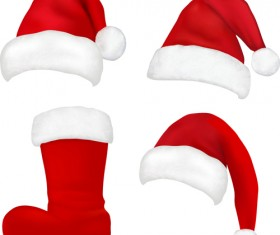 Different Christmas hat design elements vector set 07
