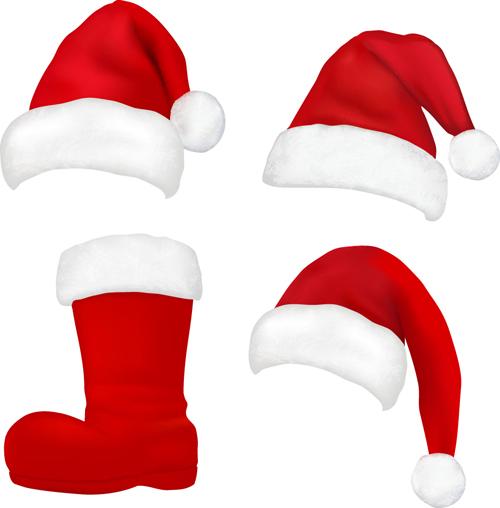 Different Christmas hat design elements vector set 07