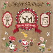 Link toRetro style christmas labels design vector 01
