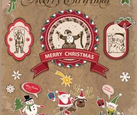 Retro style Christmas labels design vector 01