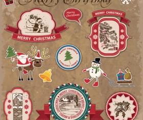 Retro style Christmas labels design vector 02