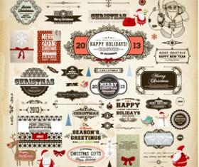 Different vintage Christmas labels elements vector set 02