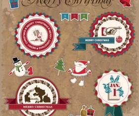 Retro style Christmas labels design vector 03