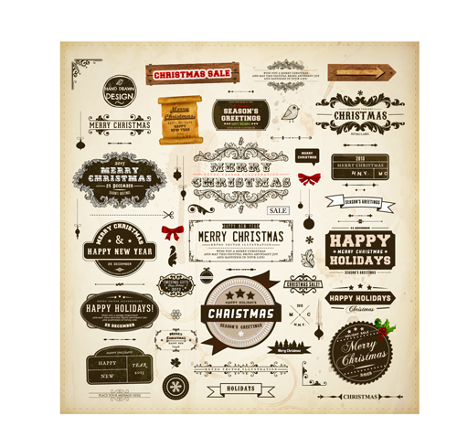 Different vintage Christmas labels elements vector set 03