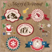 Link toRetro style christmas labels design vector 04
