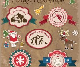 Retro style Christmas labels design vector 04