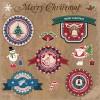 Retro style Christmas labels design vector 05