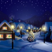Link toSet of christmas night landscapes elements vector 01