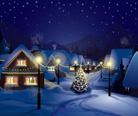 Set of Christmas Night landscapes elements vector 01