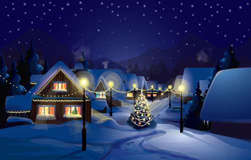 Set of christmas night landscapes elements vector 01 for Christmas landscape images