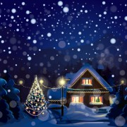 Link toSet of christmas night landscapes elements vector 02