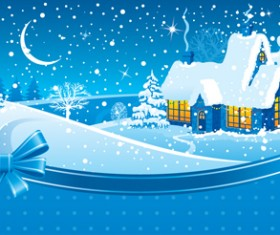 Set of Christmas Night landscapes elements vector 03