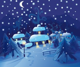 Set of Christmas Night landscapes elements vector 04