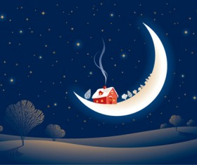 Set of Christmas Night landscapes elements vector 05