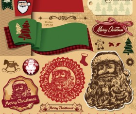Different Christmas ornaments Illustration vector material 04