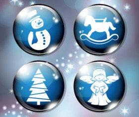 Different Christmas ornaments Illustration vector material 07