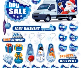 Christmas sale tags and Stickers design vector 01