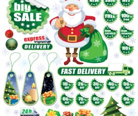 Christmas sale tags and Stickers design vector 03