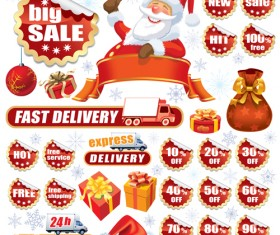 Christmas sale tags and Stickers design vector 05
